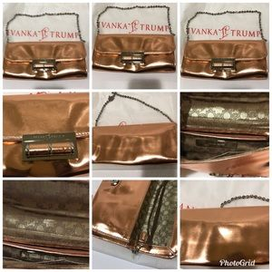 Ivanka Trump Clutch Rose Gold a display stocks